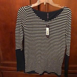 NYDJ Striped Navy & White long sleeve top